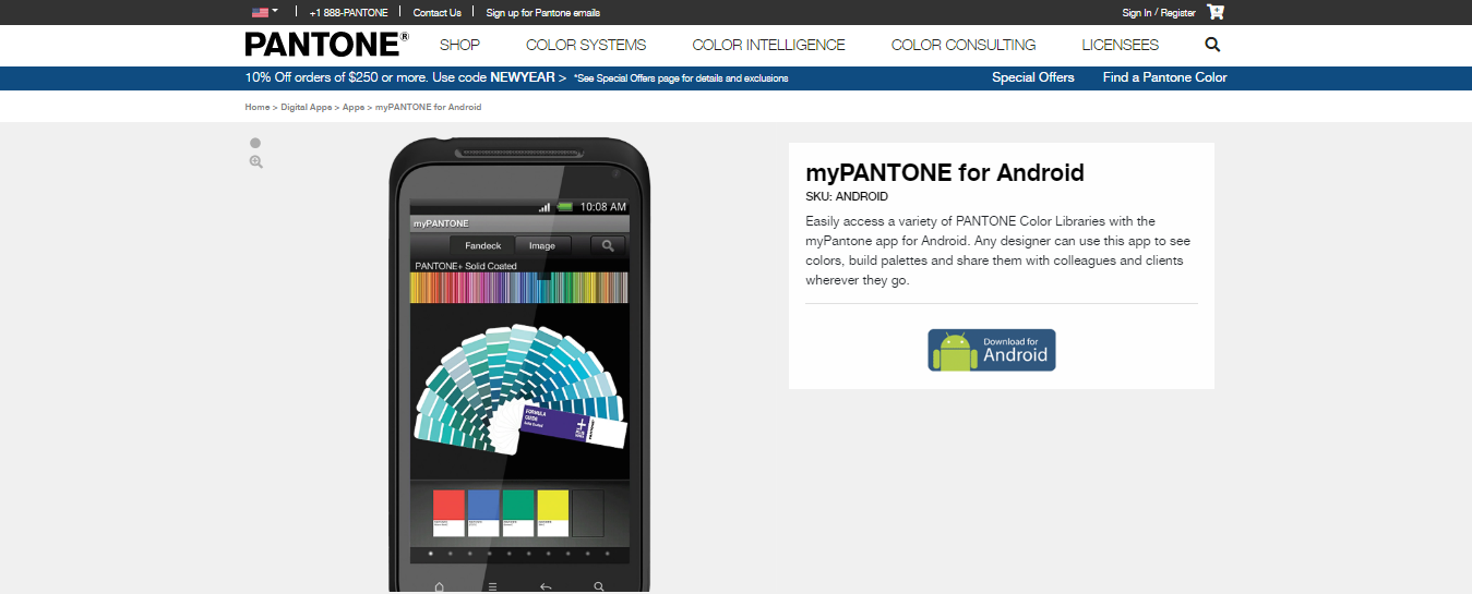 Pantone application for mobile