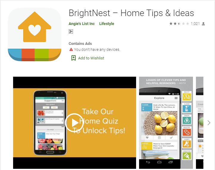 brightnest mobile application