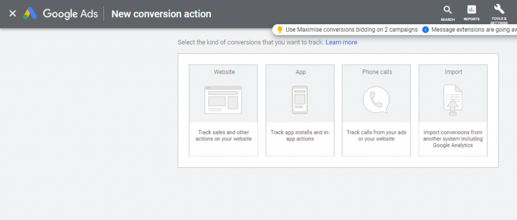 google ads new conversion action