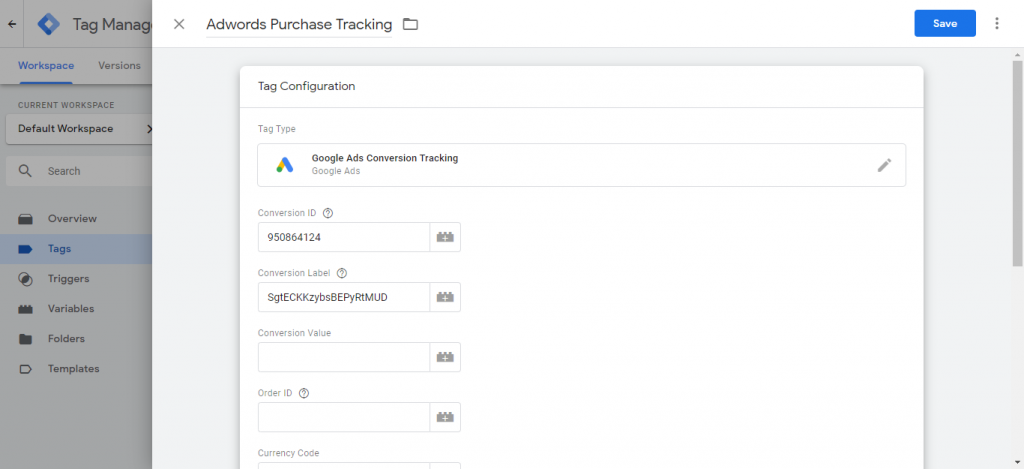 Google ads tag values in tag manager