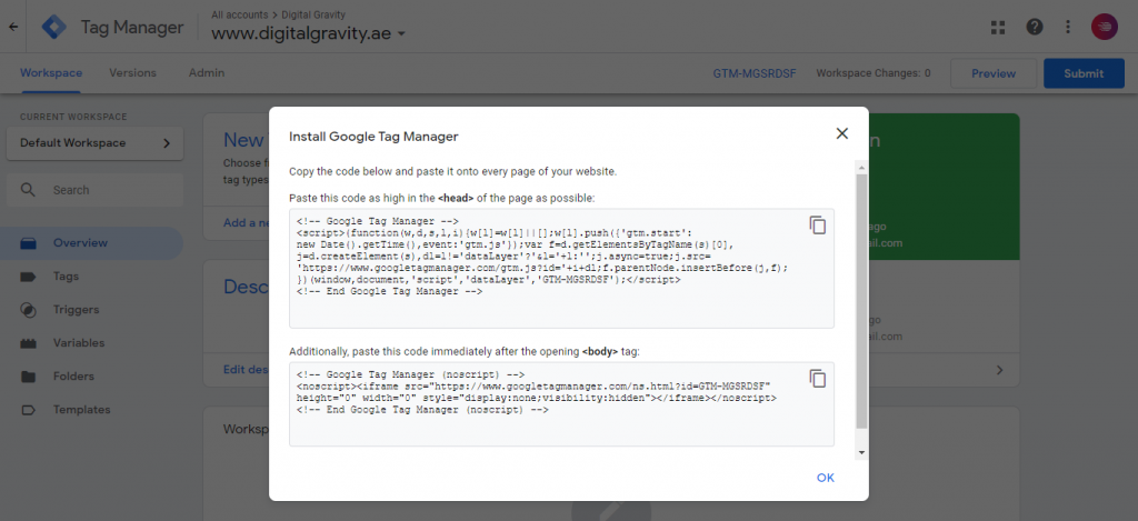 Google tag manager account code