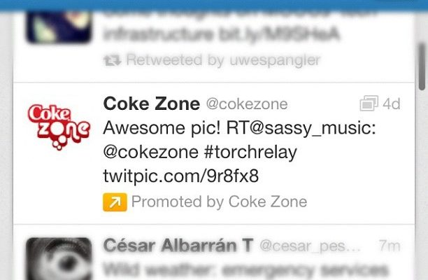 Coke zone promoted mode of account on twitter